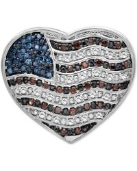 Macy's Diamond Flag Heart Pin (1/4 Ct. T.w.) In Sterling Silver - Metallic