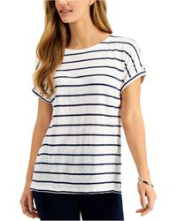 Charter Club Linen Striped Top, Created For Macy's - Blue