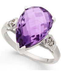 Macy's - Amethyst (5-3/8 Ct. T.w.) & Diamond Accent Teardrop Ring In Sterling Silver - Lyst