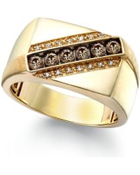 Macy's - Men's Champagne And White Diamond Ring In 10k Gold (1/4 Ct. T.w.) - Lyst