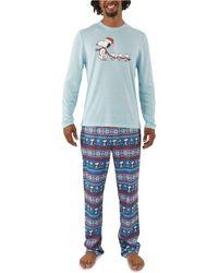 Munki Munki Peanuts Family Pajama Set - Blue