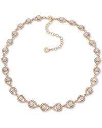 "Anne Klein - Gold-tone Pavé & Imitation Pearl Collar Necklace, 16"" + 3"" Extender - Lyst"
