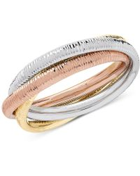Macy's - Tricolor Rolling Three-band Statement Ring In 10k Gold, White Gold & Rose Gold - Lyst