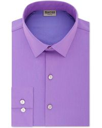Kenneth Cole Reaction Slim-fit All Day Flex Performance Stretch Solid Dress Shirt - Purple