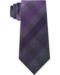 Kenneth Cole Multi Tonal Check Tie - Purple