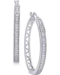 Macy's | Diamond Openwork Hoop Earrings (1/4 Ct. T.w.) | Lyst