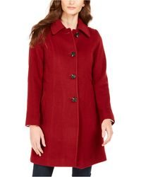 Anne Klein Petite Single-breasted Club-collar Coat - Red