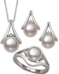 Macy's - 3-pc. Set Cultured Freshwater Pearl (7 & 8mm) Pendant Necklace, Stud Earrings & Ring In Sterling Silver - Lyst