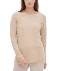 Calvin Klein - Button-detail Crewneck Sweater - Lyst