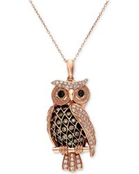 Effy Collection - White And Brown Diamond Owl Pendant Necklace (1/2 Ct. T.w.) In 14k Rose Gold - Lyst