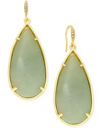 ABS By Allen Schwartz - Gold-tone Large Green Stone Teardrop Earrings - Lyst