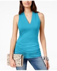 INC International Concepts - I.n.c. Ruched V-neck Top, Created For Macy's - Lyst