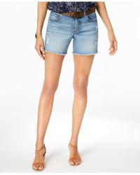 Style & Co. - Belted Ripped Denim Shorts, Created For Macy's - Lyst