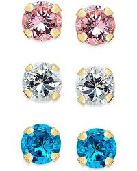 Macy's - Cubic Zirconia 3-pc. Set Colored Stud Earrings In 10k Gold - Lyst