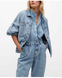 Mango Denim Oversized Jacket - Blue