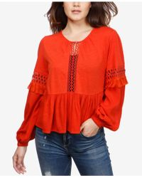 Lucky Brand - Cutout Illusion Peasant Top - Lyst