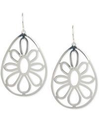 Touch Of Silver - Openwork Flower Teardrop Earrings In Silver-plated Metal - Lyst