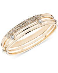Anne Klein Gold-tone 3-pc. Set Crystal Bangle Bracelets - Metallic