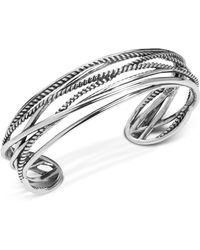 Carolyn Pollack Polished & Rope Multi-strand Cuff Bracelet In Sterling Silver - Metallic