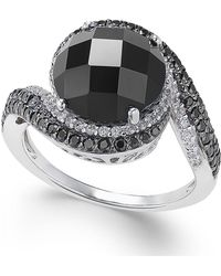 Macy's - Onyx (10mm), Diamond (1/5 Ct. T.w.) And Black Spinel Ring In Sterling Silver - Lyst