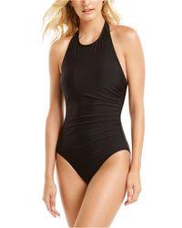 Calvin Klein Shirred High-neck Halter One-piece Swimsuit - Black