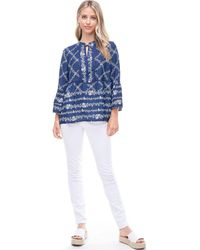 Fever Bell Sleeve Peplum Blouse With Tie Neck - Blue