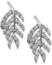 Giani Bernini - Cubic Zirconia Leaf Stud Earrings In Sterling Silver, Created For Macy's - Lyst