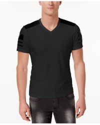 INC International Concepts - Men's Faux-leather Pieced T-shirt - Lyst