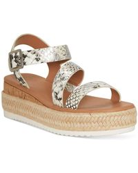 INC International Concepts Siona Asymmetrical Platform Wedge Sandals, Created For Macy's - Metallic