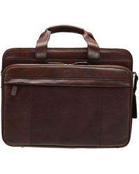 """Mancini Double Compartment Briefcase With Rfid Secure Pocket For 17.3"""" Laptop And Tablet - Brown"""