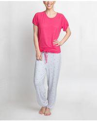 Muk Luks T-shirt & Printed Pants Pajama Set - Pink