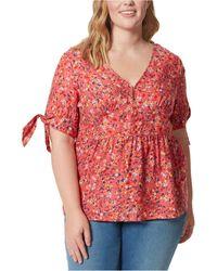 Jessica Simpson Trendy Plus Size Briana Printed Peplum Top - Red