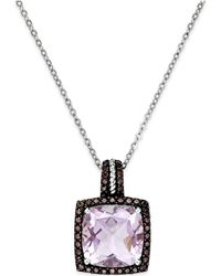 Macy's - Pink Amethyst (12mm) And Swarovski Zirconia Pendant Necklace In Sterling Silver - Lyst