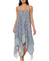 Jessica Simpson Striped Swim Cover-up Dress - Blue