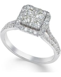 Macy's - Square Diamond Cluster Ring (3/4 Ct. T.w.) In 14k White Gold - Lyst