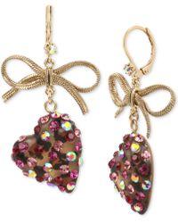 Betsey Johnson - Gold-tone Stone Heart & Ribbon Drop Earrings - Lyst