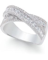 Macy's Arabella Swarovski Zirconia Crisscross Statement Ring In Sterling Silver - Metallic