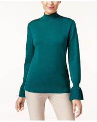Cable & Gauge - Flared-cuff Mock-neck Jumper - Lyst