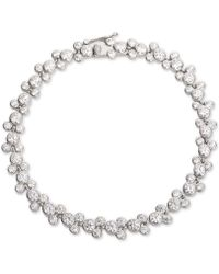 Disney Cubic Zirconia Mickey Mouse Tennis Bracelet In Sterling Silver - White