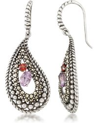 Macy's Amethyst (5/8 Ct. T.w.), Garnet (1/4 Ct. T.w) & Marcasite Paisley Earrings In Sterling Silver - Metallic