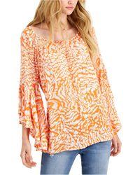 Fever Printed Ruffle-sleeve Top - Orange