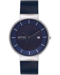 Bering Solar Powered Blue Stainless Steel Mesh Bracelet Watch 39mm
