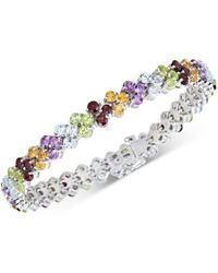 Macy's Blue Topaz Cluster Tennis Bracelet (15 Ct. T.w.) In Sterling Silver (also Available In Multi Gemstone) - Multicolour