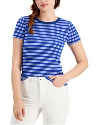 Style & Co. Striped T-shirt, Created For Macy's - Blue