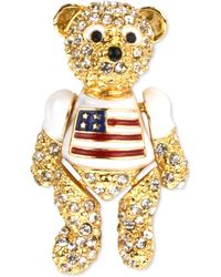 Charter Club Holiday Lane Gold-tone Pavé Red, White & Blue Bear Pin, Created For Macy's - Metallic
