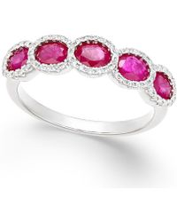 Macy's - Ruby (1-3/8 Ct. T.w.) And Diamond (1/5 Ct. T.w.) Ring In 14k White Gold - Lyst