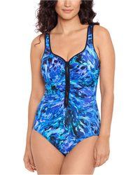 Reebok Lazer Tag Zipper One-piece Swimsuit - Blue