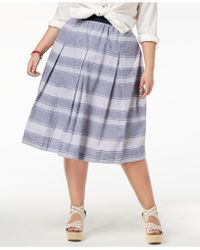 Tommy Hilfiger - Plus Size Cotton Pleated Skirt, Created For Macy's - Lyst