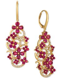 Le Vian - Certified Passion Rubytm (5 Ct. T.w.) & Diamond (1/2 Ct. T.w.) Drop Earrings In 14k Gold - Lyst