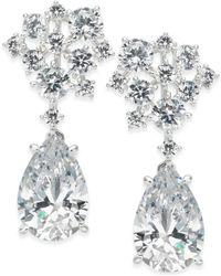 Danori - Silver-tone Crystal Cluster Teardrop Drop Earrings - Lyst
